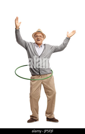 Full length portrait of a cheerful mature man with a hula hoop isolated on white background - Stock Photo
