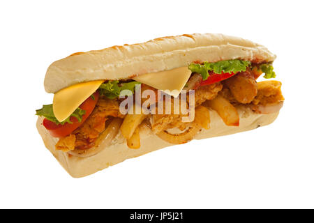 Mighty sub sandwich hoagie with mozarella sticks french fries lots of meat and veggies - Stock Photo