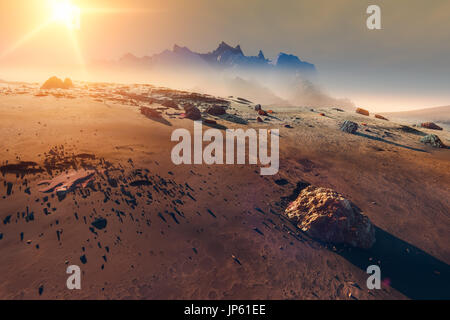 Planet Mars landscape sunset, mountains and scattered meteorite rocks, 3d illustration - Stock Photo