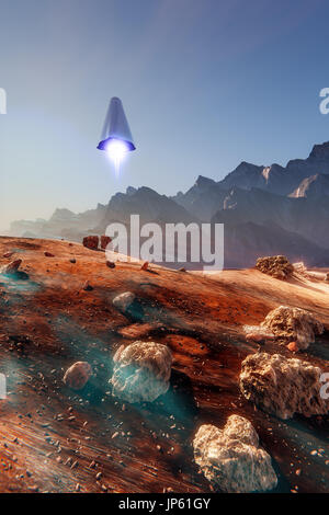 Mars lander, spaceship over the Martian landscape, 3d illustration - Stock Photo