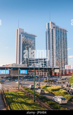 Milan, Italy - July 25th, 2017: Porta Garibaldi rail station, a main transport hub in the nothern part of the city - Stock Photo