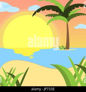 Summer background, of beach at sunset with waves, clouds and palm tree on the horizont. seaside view poster. vector - Stock Photo