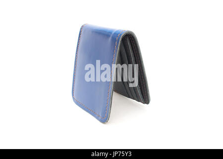 Blue Wallet leather on isolated - Stock Photo