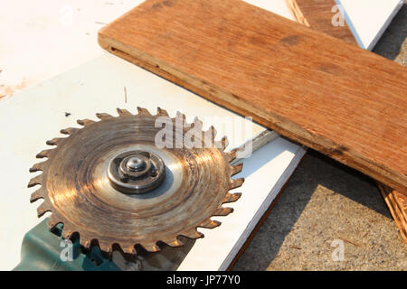 grinder wood in workshop - Stock Photo