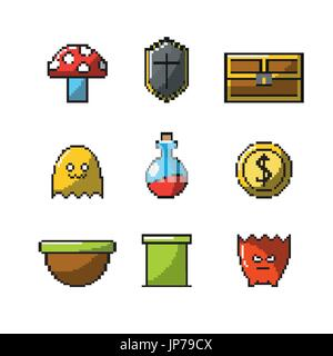 set viodeogame simulator technology design - Stock Photo