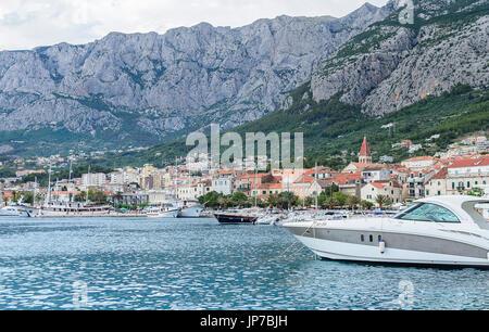 Makarska city croatia port quay. - Stock Photo