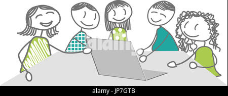 Men and women attend a seminar, training, presentation, at work or for leisure - Stock Photo
