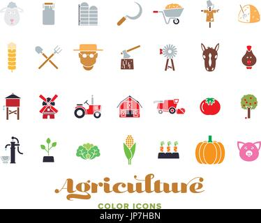 Set of 28 agriculture color icons - Stock Photo