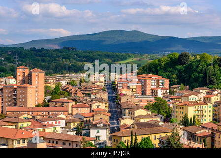 Aerial view of Colle Val d'Elsa, a town near Siena in Tuscany, Italy - Stock Photo
