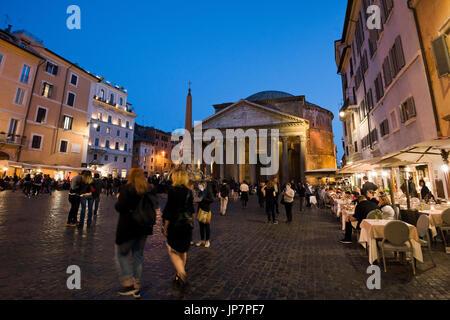 Horizontal view of the Pantheon and Piazza della Rotonda in Rome at sunset. - Stock Photo