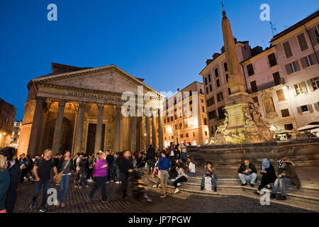 Horizontal view of the Pantheon and Piazza della Rotonda in Rome at sunset. - Stock Photo