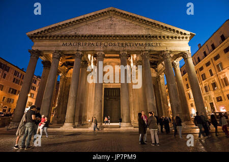 Horizontal view of the Pantheon in Rome at sunset. - Stock Photo