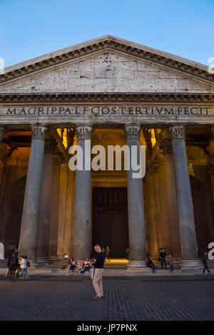 Vertical view of the Pantheon in Rome at sunset. - Stock Photo