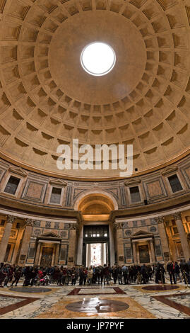 Vertical panoramic view of the circular roof inside the Pantheon in Rome. - Stock Photo