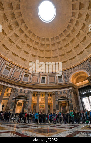 Vertical view of the circular roof inside the Pantheon in Rome. - Stock Photo