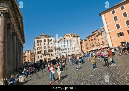 Horizontal view of the Pantheon and Piazza della Rotonda in Rome. - Stock Photo