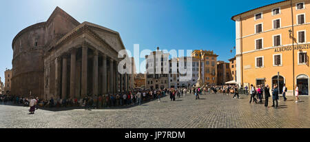 Horizontal panoramic view of the Pantheon and Piazza della Rotonda in Rome. - Stock Photo