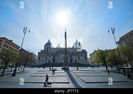 Horizontal street view of the Basilica of Saint Mary Major from Piazza Dell'Esquilino in Rome. - Stock Photo