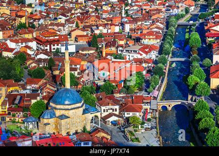 Europe, Kosovo, Prizren, Historic city on banks of Prizren Bistrica river, Aerial Old town panorama with Sinan Pasha - Stock Photo