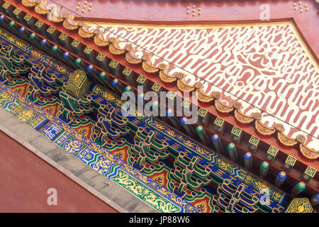 Arcchitectural detail of decorative gable roof and rafters at Summer Palace - Stock Photo