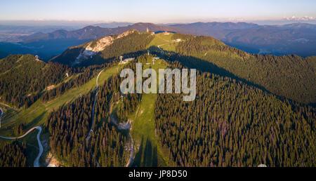 Aerial view of Poiana Brasov in summer - the most popular Romanian ski resort - Stock Photo