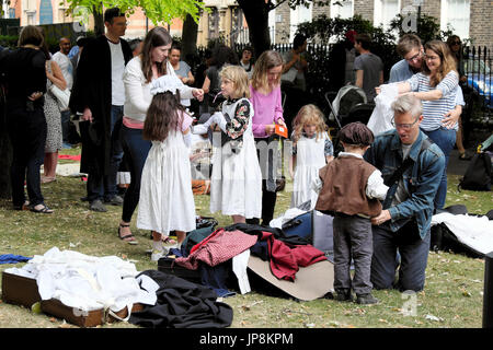 Families dress up in Victorian costumes at Union Chapel Annual Garden Summer Fete, Compton Terrace Gardens Upper - Stock Photo