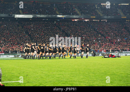 The All Blacks perform the Haka, Eden Park, Auckland, Saturday July 8th 2017 before the Rugby World Cup final against - Stock Photo