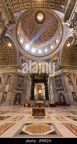 Vertical view of Saint Peter's tomb inside St Peter's Basilica at the Vatican in Rome. - Stock Photo