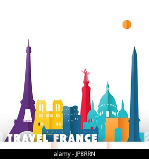 Travel France concept illustration in paper cut style, famous world landmarks of French country. Includes Eiffel - Stock Photo