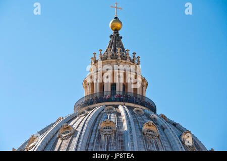 Horizontal view of the viewing gallery on top of St Peter's Basilica in Rome. - Stock Photo