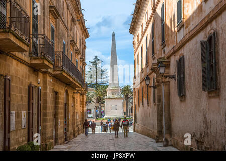 Spain, Balearic Islands, Menorca Island, Ciutadella City, Mayor des Born Street - Stock Photo