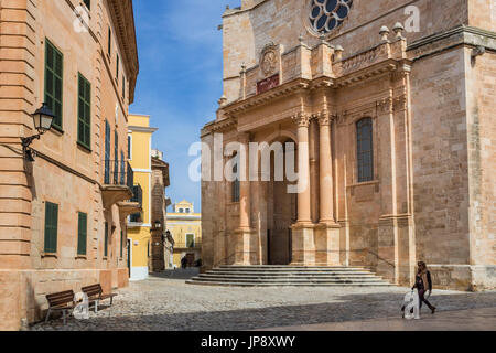 Spain balearic Islands, Menorca Island, Ciutadella City, Ciutadella cathedral - Stock Photo