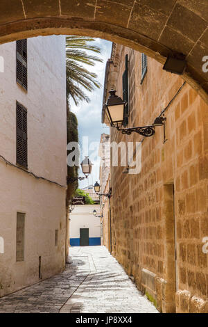 Spain balearic Islands, Menorca Island, Ciutadella City, Ciutadella old town street - Stock Photo