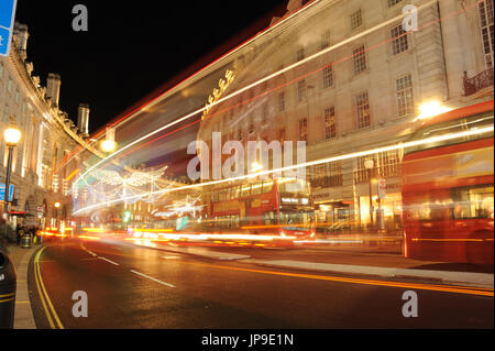 London Piccadilly, Night Light Trails - Stock Photo