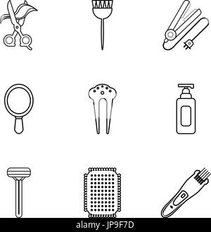 Hairdressing icons set, outline style - Stock Photo