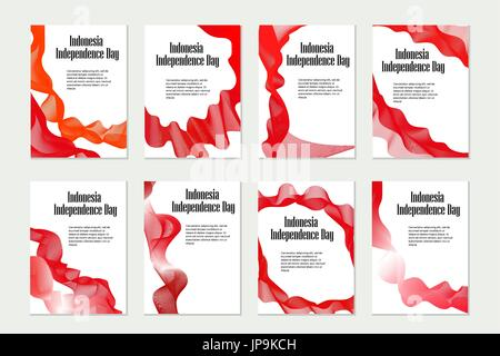 Independence Day Indonesia. Set of templates, brochures, flyers for your design in national flag colors. Vector - Stock Photo