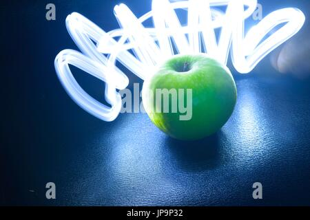 Green Light Painting Photography V Shape Parallel Lines On A - Fruit provides light for long exposure photographs