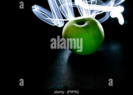 Green Light Painting Photography Long Exposure Of Fairy Lights - Fruit provides light for long exposure photographs