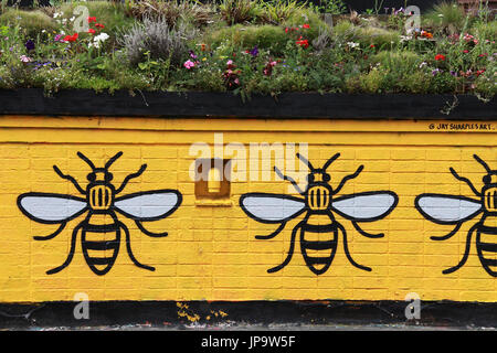 Urban art by Jay Steeples at Stevenson Square in Manchesters Northern Quarter - Stock Photo