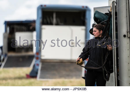Burgham, Morpeth, Northumberland, UK. 28/29th July 2017. Eventers compete at Burgham International Horse Trials - Stock Photo
