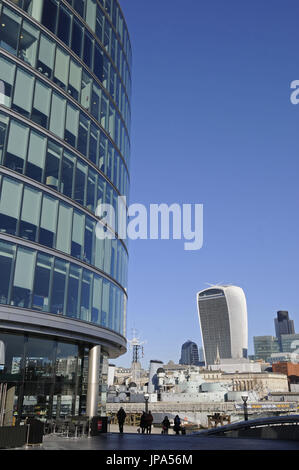 The view over the River Thames to the Modern Skyline of City of London with the Walkie Talkie and Cheesegrater Buildings - Stock Photo