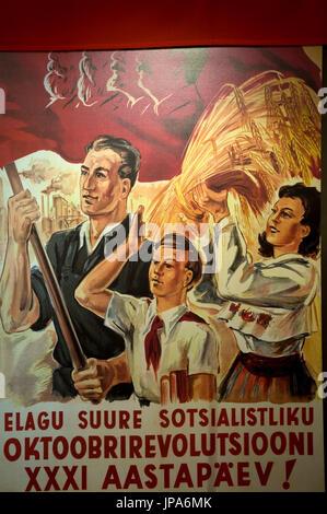 Soviet-era social-realist poster, Linnamuuseum, aka Tallinn City Museum, Vene 17, Tallinn, Estonia - Stock Photo