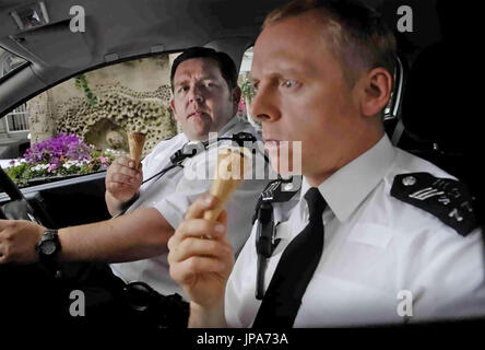 HOT FUZZ  2007 Universal Pictures film with Simon Pegg at right and Nick Frost - Stock Photo