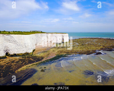 The chalk arch in the cliffs at Kingsgate Bay, Kent, UK - Stock Photo