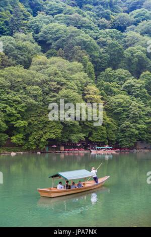 Japan, Kyoto City, Arashiyama Mountain, Oi River,boat - Stock Photo