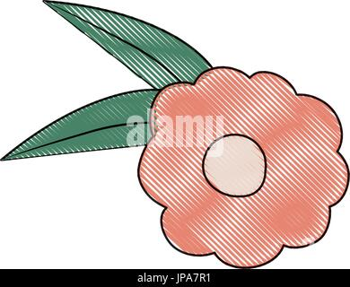 white background with colored crayon silhouette of pink flower with leaves - Stock Photo
