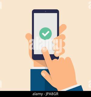 Check mark on smart-phone screen. Hand holding smart phone. Finger on mobile device screen. Modern flat vector illustration. - Stock Photo
