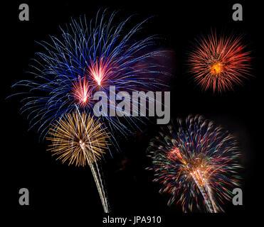 July 4, Fireworks, Miami, Florida, USA - Stock Photo