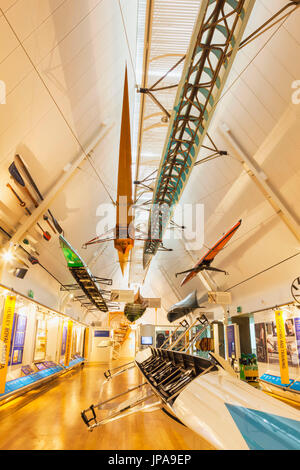 England, Oxfordshire, Henley-on-Thames, River and Rowing Museum, Display of Rowing Boats - Stock Photo