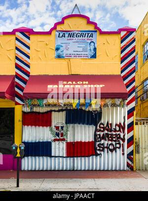 Barber Shop, Calle Ocho, Miami, Florida, USA - Stock Photo